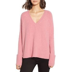 J.Crew V-Neck Pink Sweater In SuperSoft Yarn